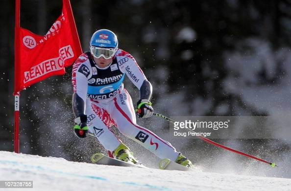 Georg Streitberger of Austria skis to first place in the Men's Super Giant Slalom at the Audi FIS World Cup Birds of Prey on December 4 2010 in...