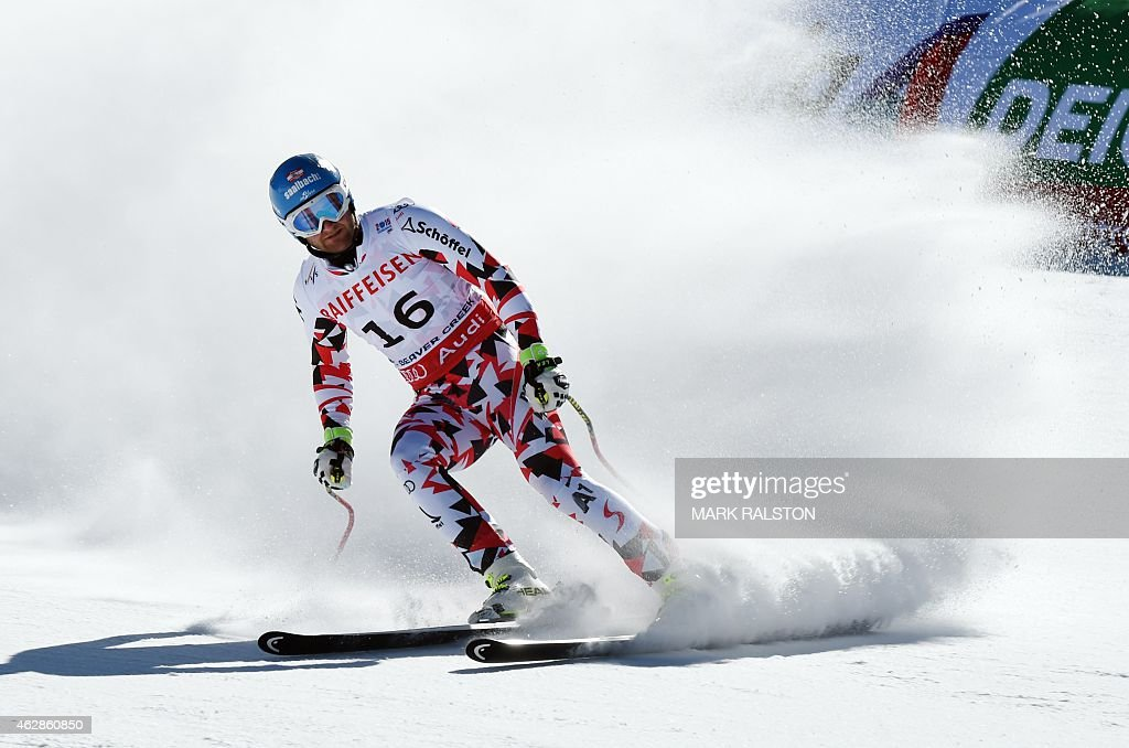 Georg Streitberger of Austria slides through the finish area during the 2015 World Alpine Ski Championships men's downhill training run February 6...