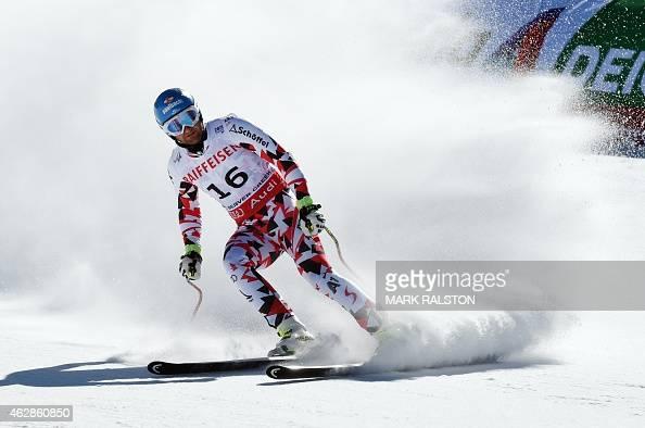 Georg Streitberger of Austria slides through the finish area during the 2015 World Alpine Ski Championships men's downhill training run February 6...