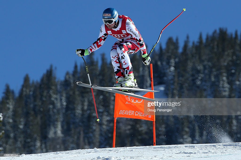 Georg Streitberger of Austria soars over the Red Tale jump during downhill training for the Audi FIS Ski World Cup on the Birds of Prey on December 2...