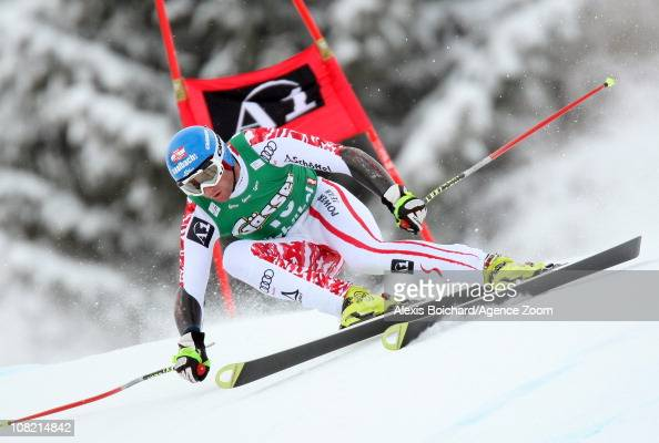 Georg Streitberger of Austria takes 2nd place during the Audi FIS Alpine Ski World Cup Men's SuperG on January 21 2011 in Kitzbuehel Austria