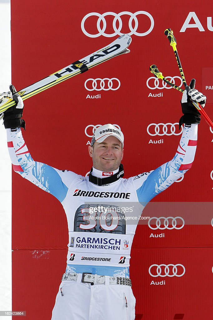Georg Streitberger of Austria takes 2nd place during the Audi FIS Alpine Ski World Cup Men's Downhill on February 23 2013 in GarmischPartenkirchen...