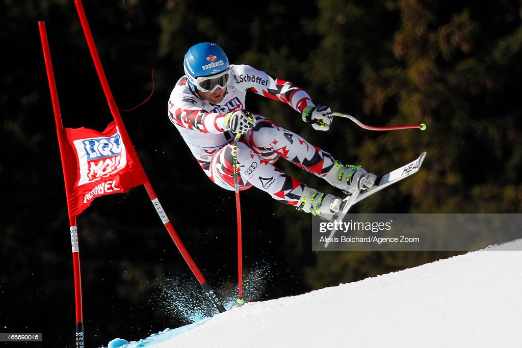 Georg Streitberger of Austria takes 3rd place during the Audi FIS Alpine Ski World Cup Finals Men's Downhill on March 18 2015 in Meribel France
