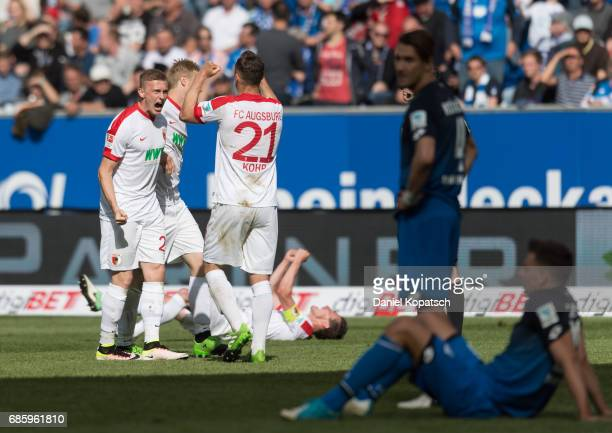 Georg Teigl of Augsburg and Dominik Kohr of Augsburg celebrate during the Bundesliga match between TSG 1899 Hoffenheim and FC Augsburg at Wirsol...