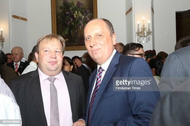Georg Zehetner and Gyula during the celebration of the National Day of Russia hosted by the Embassy of the Russian Federation on June 12 2017 in New...