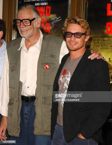 George A Romero director and Simon Baker during 'Land of the Dead' Los Angeles Premiere Arrivals at National Theatre in Westwood California United...