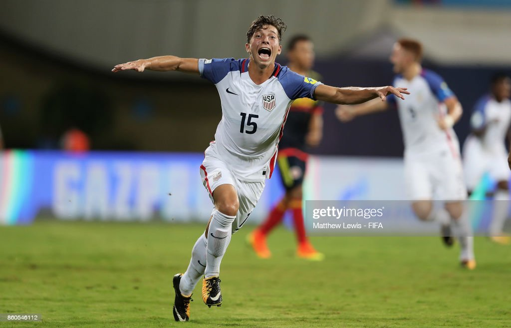 George Acosta of the United States celebrates his goal during the FIFA U-17 World Cup India 2017 group B match between USA and Colombia at Dr DY Patil Cricket Stadium on October 12, 2017 in Mumbai, India.