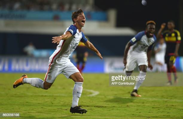 George Acosta of USA celebrates after scoring a goal during the group stage football match between USA and Colombia in the FIFA U17 World Cup at the...