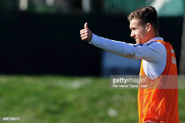 George Alexandru Puscas during FC Internazionale training session at the club's training ground at Appiano Gentile on April 6 2015 in Como Italy