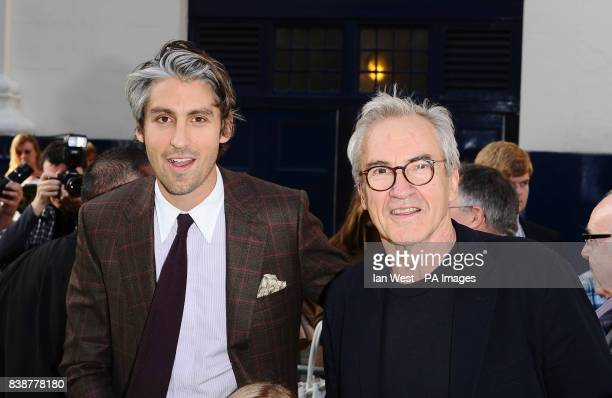 George and Larry Lamb arrive at the opening night of Shrek The Musical at the Theatre Royal in London