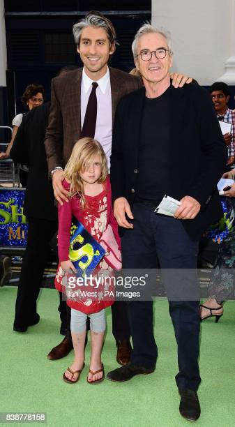 George and Larry Lamb with a guest at the opening night of Shrek The Musical at the Theatre Royal in London