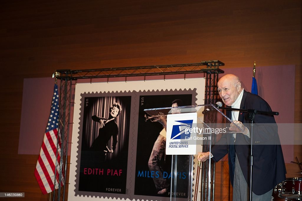 George Avakian speaks at The United States Postal Service and France's La Poste Miles Davis And Edith Piaf Stamp Unveiling at Rubin Museum of Art on June 12, 2012 in New York City.