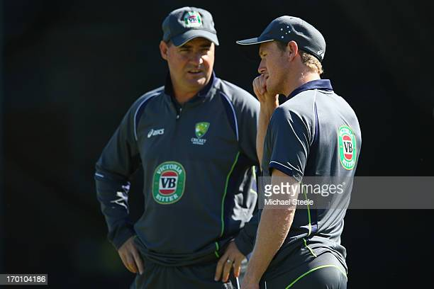 George Bailey in discussion with coach Mickey Arthur during the Australia nets session at Edgbaston on June 7 2013 in Birmingham England