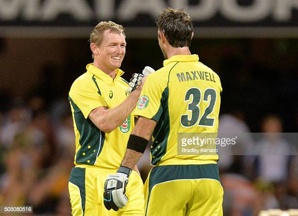 George Bailey of Australia and Glenn Maxwell celebrate victory after game two of the Victoria Bitter One Day International Series between Australia...