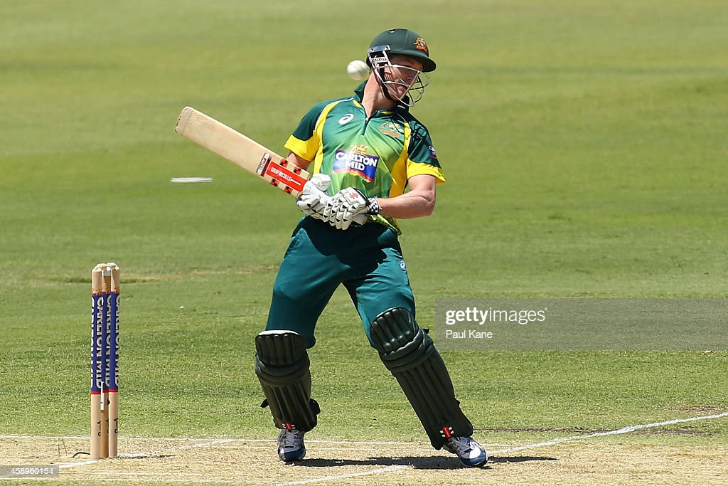 <a gi-track='captionPersonalityLinkClicked' href=/galleries/search?phrase=George+Bailey+-+Cricket+Player&family=editorial&specificpeople=9737020 ng-click='$event.stopPropagation()'>George Bailey</a> of Australia avoids a high delivery during game one of the men's one day international series between Australia and South Africa at WACA on November 14, 2014 in Perth, Australia.