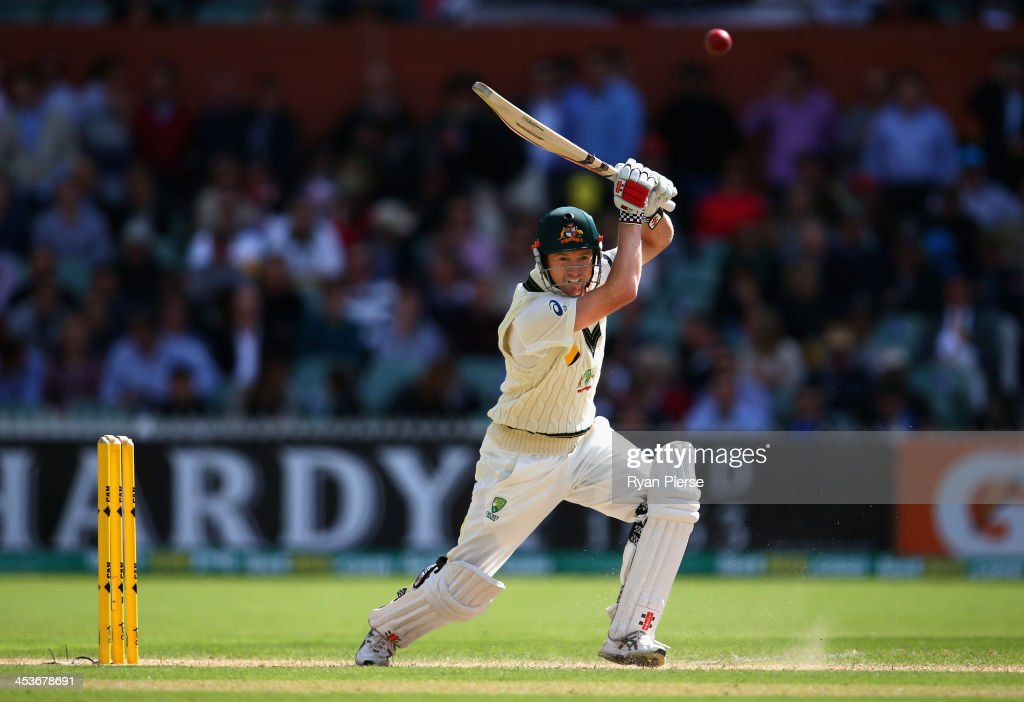 George Bailey of Australia bats during day one of the Second Ashes Test Match between Australia and England at Adelaide Oval on December 5, 2013 in Adelaide, Australia.