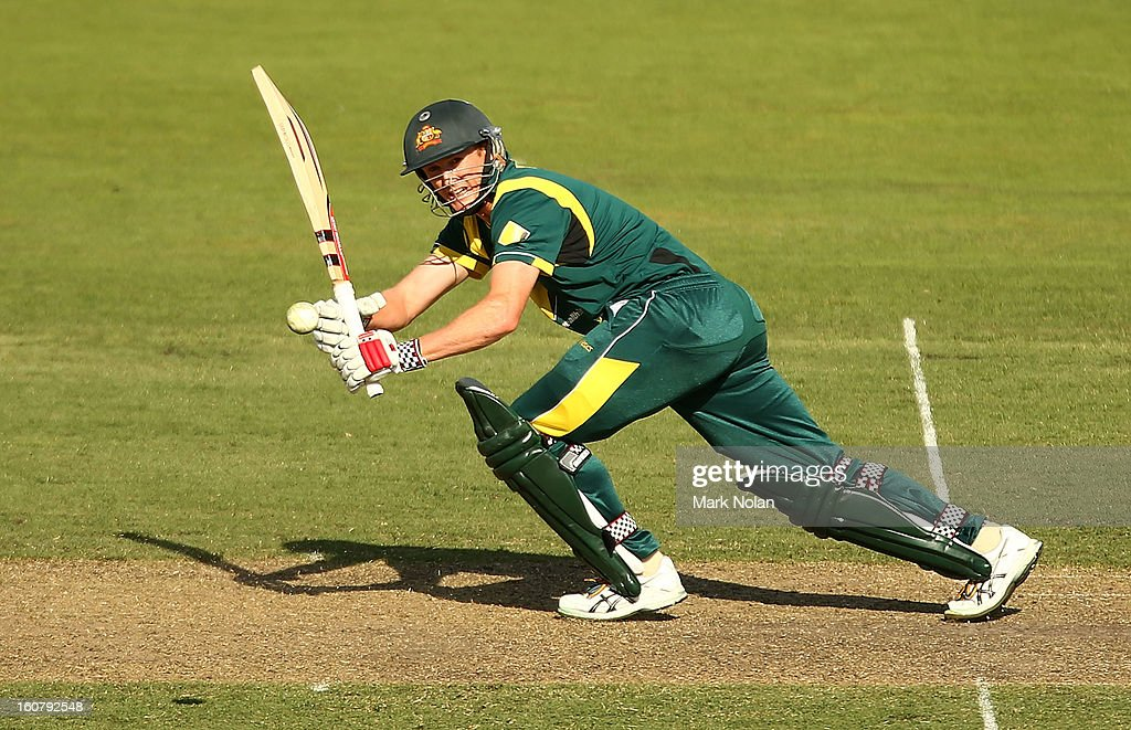 George Bailey of Australia bats during the Commonwealth Bank One Day International Series between Australia and the West Indies at Manuka Oval on February 6, 2013 in Canberra, Australia.