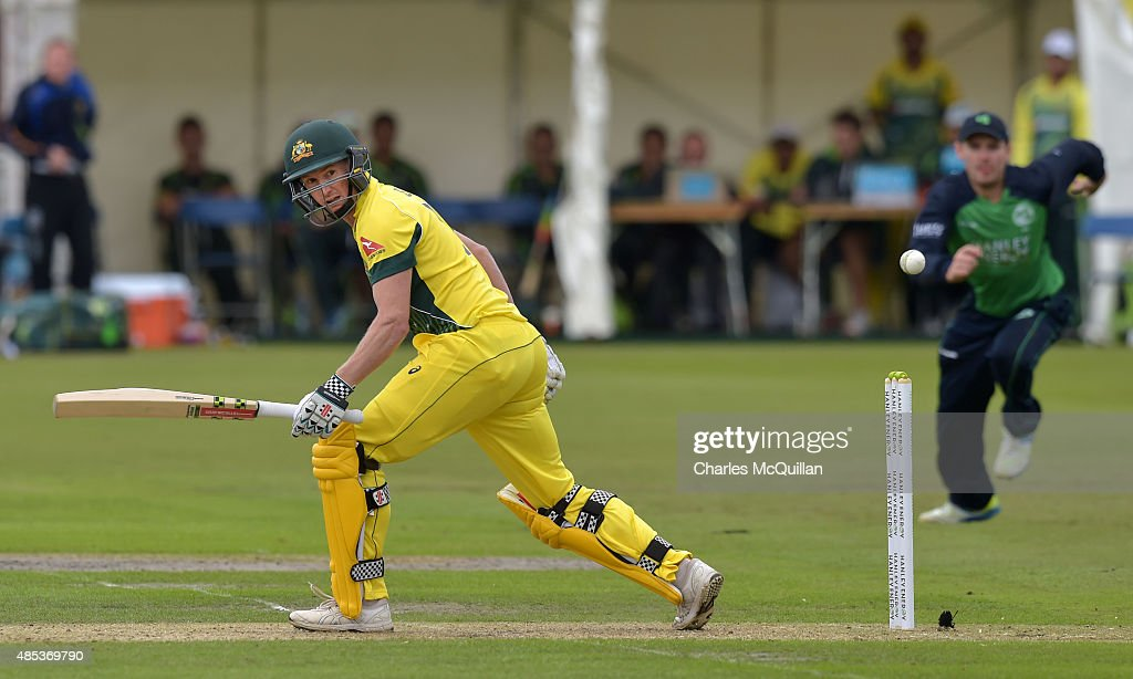 <a gi-track='captionPersonalityLinkClicked' href=/galleries/search?phrase=George+Bailey+-+Cricket+Player&family=editorial&specificpeople=9737020 ng-click='$event.stopPropagation()'>George Bailey</a> of Australia batting during the ODI cricket game between Ireland and Australia at Stormont cricket ground on August 27, 2015 in Belfast, Northern Ireland.