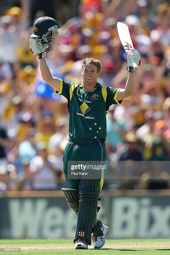 George Bailey of Australia celebrates his century during game two of the Commonwealth Bank One Day International Series between Australia and the West Indies at WACA on February 3, 2013 in Perth, Australia.