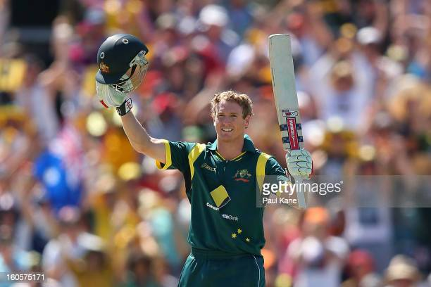 George Bailey of Australia celebrates his century during game two of the Commonwealth Bank One Day International Series between Australia and the...