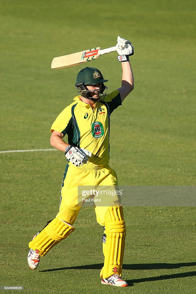 <a gi-track='captionPersonalityLinkClicked' href=/galleries/search?phrase=George+Bailey+-+Cricket+Player&family=editorial&specificpeople=9737020 ng-click='$event.stopPropagation()'>George Bailey</a> of Australia celebrates his century during the Victoria Bitter One Day International Series match between Australia and India at WACA on January 12, 2016 in Perth, Australia.