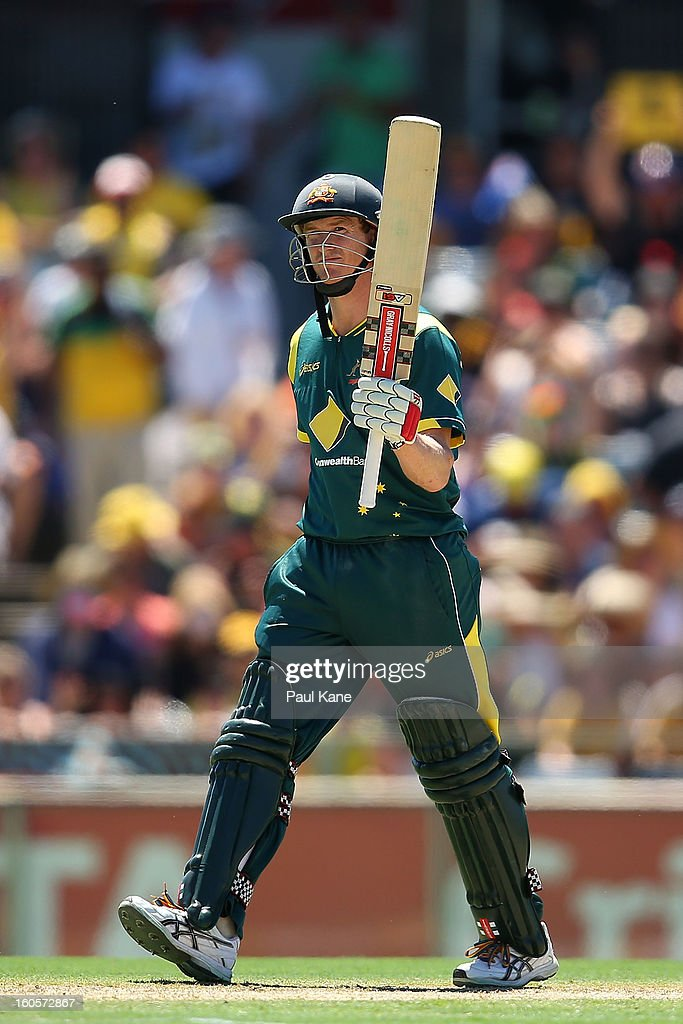 George Bailey of Australia celebrates his half century during game two of the Commonwealth Bank One Day International Series between Australia and the West Indies at WACA on February 3, 2013 in Perth, Australia.