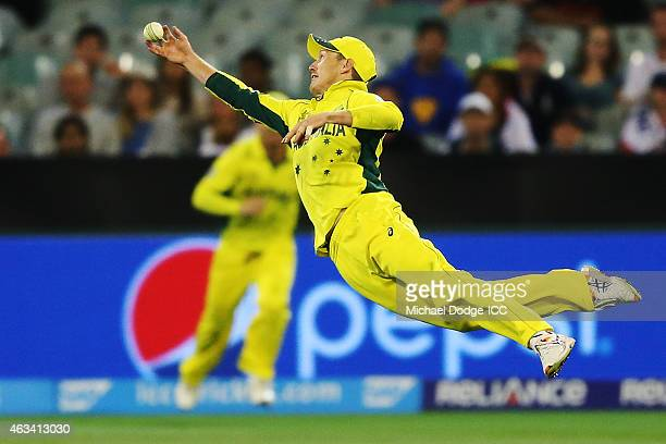 George Bailey of Australia drops a catch to dismiss James Taylor of England during the 2015 ICC Cricket World Cup match between England and Australia...