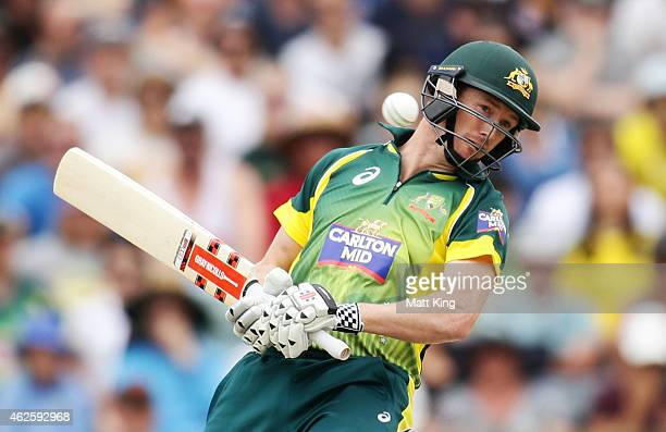 George Bailey of Australia ducks a high ball from James Anderson of England during the final match of the Carlton Mid One Day International series...