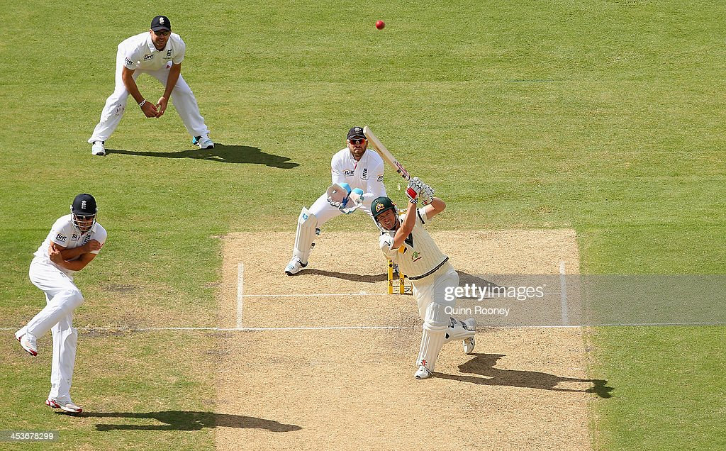 George Bailey of Australia hits a six during day one of the Second Ashes Test Match between Australia and England at Adelaide Oval on December 5, 2013 in Adelaide, Australia.