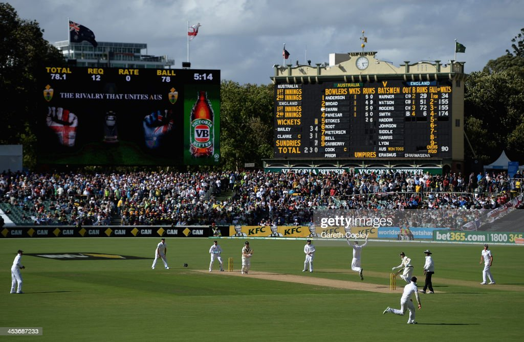 George Bailey of Australia hits past <a gi-track='captionPersonalityLinkClicked' href=/galleries/search?phrase=Graeme+Swann&family=editorial&specificpeople=578767 ng-click='$event.stopPropagation()'>Graeme Swann</a> of England during day one of the Second Ashes Test Match between Australia and England at Adelaide Oval on December 5, 2013 in Adelaide, Australia.