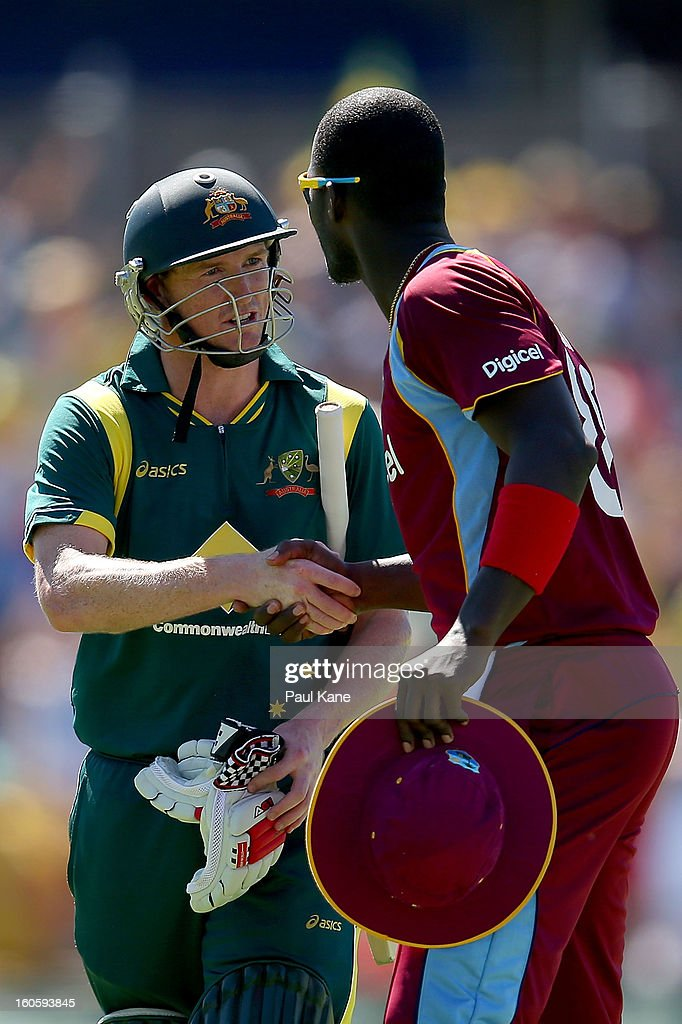 George Bailey of Australia is congratulated by Darren Sammy of the West Indies at the end of the innings during game two of the Commonwealth Bank One Day International Series between Australia and the West Indies at WACA on February 3, 2013 in Perth, Australia.