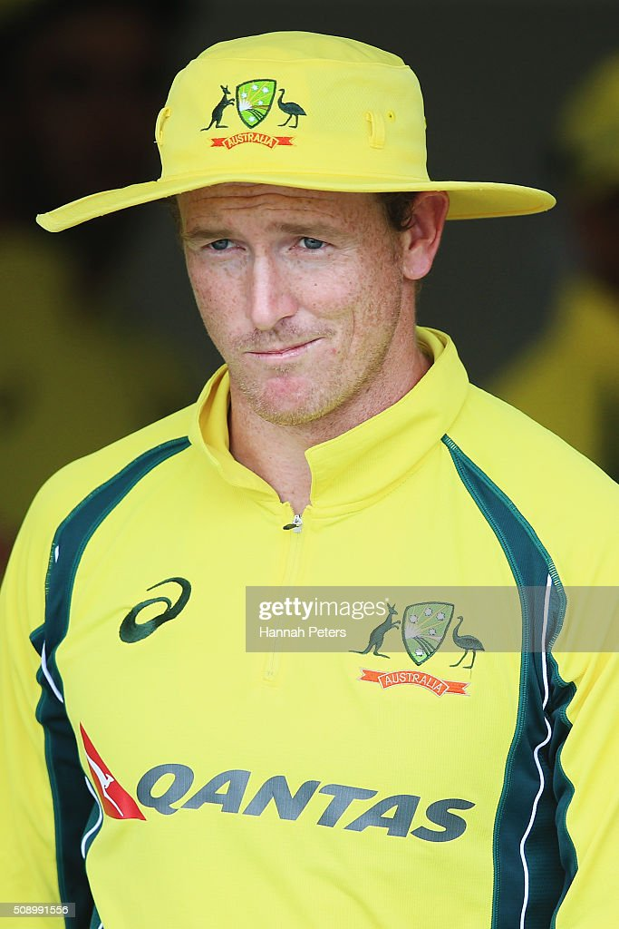<a gi-track='captionPersonalityLinkClicked' href=/galleries/search?phrase=George+Bailey+-+Cricket+Player&family=editorial&specificpeople=9737020 ng-click='$event.stopPropagation()'>George Bailey</a> of Australia looks on during the 3rd One Day International cricket match between the New Zealand Black Caps and Australia at Seddon Park on February 8, 2016 in Hamilton, New Zealand.