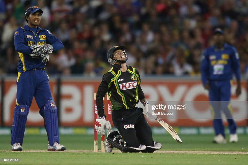 George Bailey of Australia reacts after being hit on the foot by the ball during game two of the Twenty20 International series between Australia and Sri Lanka at the Melbourne Cricket Ground on January 28, 2013 in Melbourne, Australia.