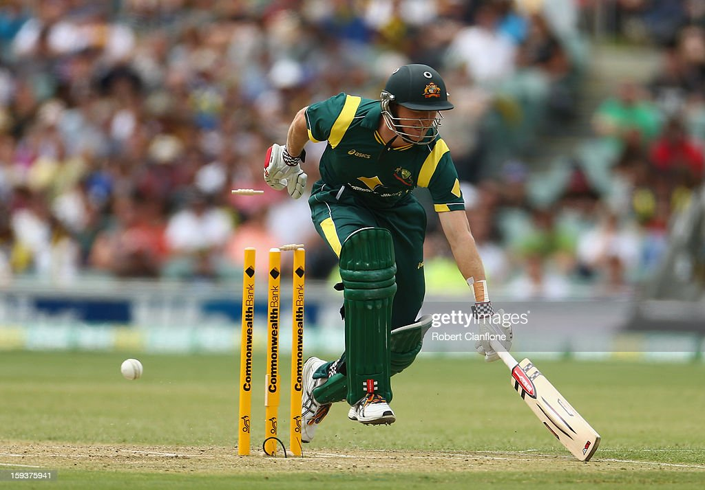 George Bailey of Australia survives a run out attempt during game two of the Commonwealth Bank One Day International series between Australia and Sri Lanka at Adelaide Oval on January 13, 2013 in Adelaide, Australia.