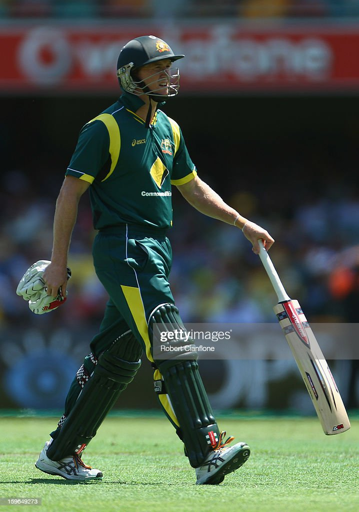 George Bailey of Australia walks from the ground after he was dismissed during game three of the Commonwealth Bank One Day International Series between Australia and Sri Lanka at The Gabba on January 18, 2013 in Brisbane, Australia.