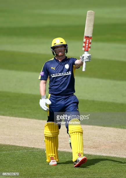 George Bailey of Hampshire celebrates his 100 during the Royal London OneDay Cup match between Surrey and Hampshire at The Kia Oval on May 14 2017 in...