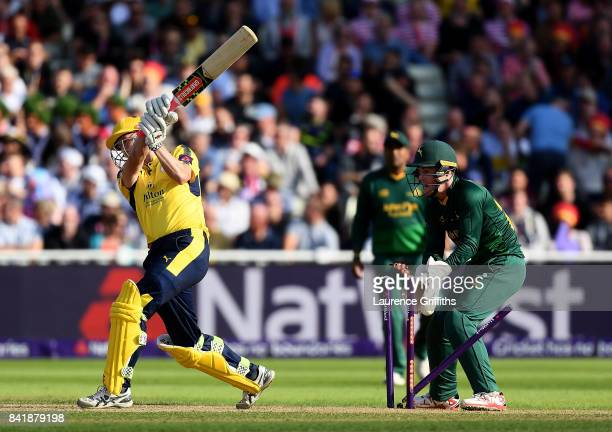 George Bailey of Hampshire is bowled by Steven Mullaney of Notts during the NatWest T20 Blast SemiFinal match between Hampshire and Notts Outlaws at...