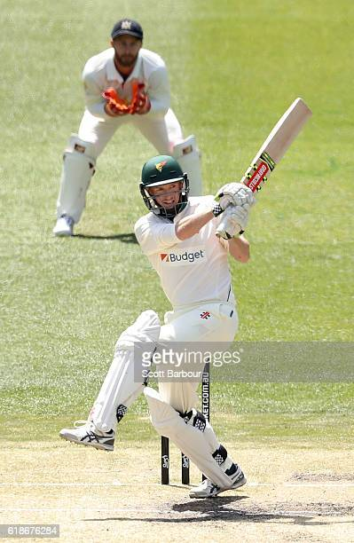 George Bailey of Tasmania bats during day four of the Sheffield Shield match between Victoria and Tasmania at the Melbourne Cricket Ground on October...