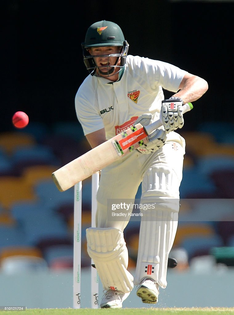 <a gi-track='captionPersonalityLinkClicked' href=/galleries/search?phrase=George+Bailey+-+Cricket+Player&family=editorial&specificpeople=9737020 ng-click='$event.stopPropagation()'>George Bailey</a> of Tasmania bats during day one of the Sheffield Shield match between Queensland and Tasmania at The Gabba on February 14, 2016 in Brisbane, Australia.