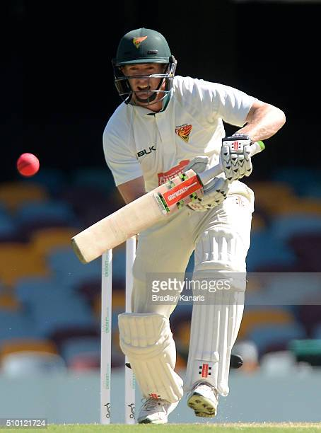 George Bailey of Tasmania bats during day one of the Sheffield Shield match between Queensland and Tasmania at The Gabba on February 14 2016 in...