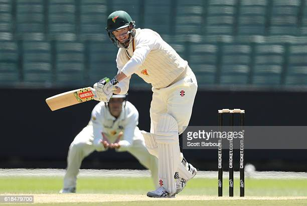 George Bailey of Tasmania bats during day three of the Sheffield Shield match between Victoria and Tasmania at the Melbourne Cricket Ground on...