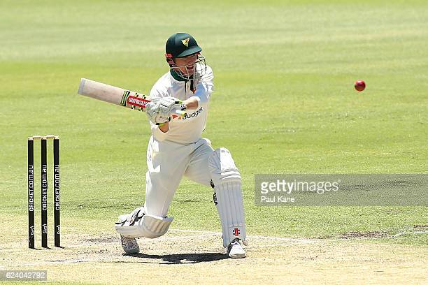 George Bailey of Tasmania bats during day two of the Sheffield Shield match between Western Australia and Tasmania at WACA on November 18 2016 in...