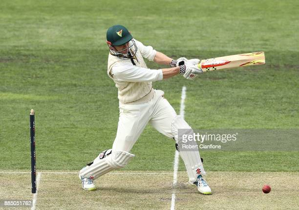 George Bailey of Tasmania bats during day two of the Sheffield Shield match between New South Wales and Tasmania at Blundstone Arena on December 4...