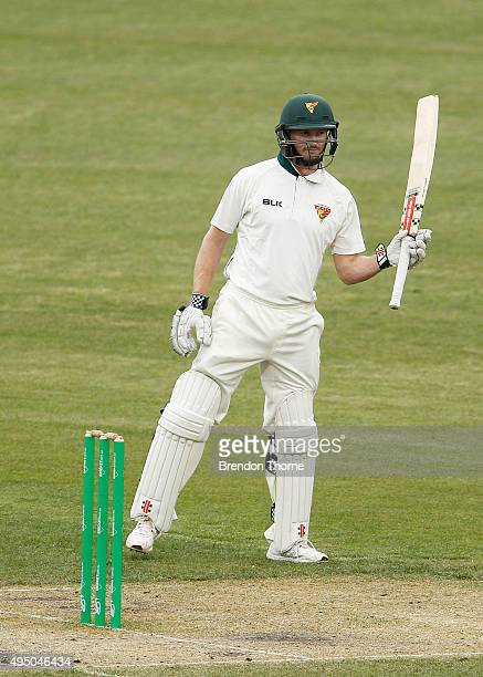 George Bailey of Tasmania celebrates scoring his half century during day four of the Sheffield Shield match between Tasmania and Western Australia at...