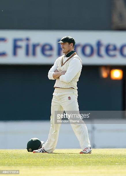 George Bailey of Tasmania looks on during day two of the Sheffield Shield match between Tasmania and Western Australia at Blundstone Arena on October...