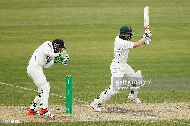George Bailey of Tasmania plays a cut shot during day four of the Sheffield Shield match between Tasmania and Western Australia at Blundstone Arena...