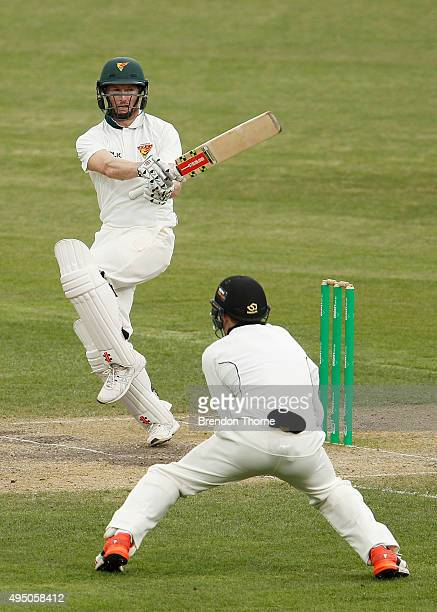 George Bailey of Tasmania plays a pull shot during day four of the Sheffield Shield match between Tasmania and Western Australia at Blundstone Arena...