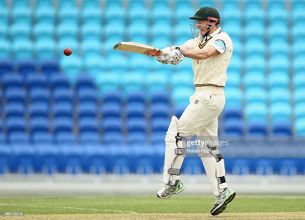 <a gi-track='captionPersonalityLinkClicked' href=/galleries/search?phrase=George+Bailey+-+Cricket+Player&family=editorial&specificpeople=9737020 ng-click='$event.stopPropagation()'>George Bailey</a> of Tasmania plays a shot during day one of the Sheffield Shield match between Tasmania and South Australia at Blundstone Arena on December 9, 2014 in Hobart, Australia.