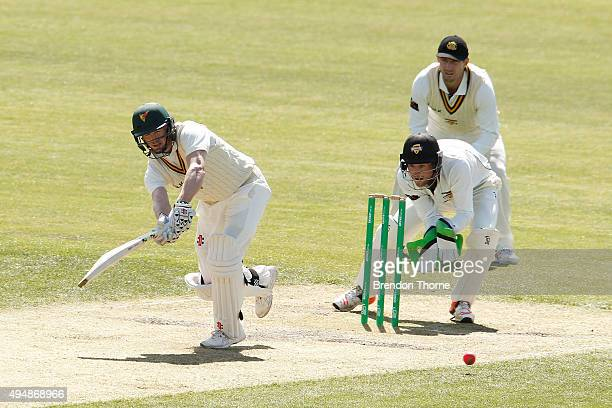 George Bailey of Tasmania plays a stroke on the leg side during day three of the Sheffield Shield match between Tasmania and Western Australia at...