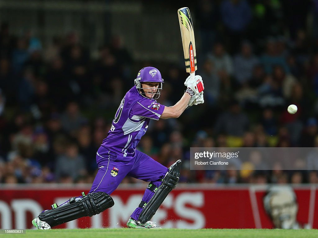 George Bailey of the Hurricanes bats during the Big Bash League match between the Hobart Hurricanes and the Perth Scorchers at Blundstone Arena on January 1, 2013 in Hobart, Australia.